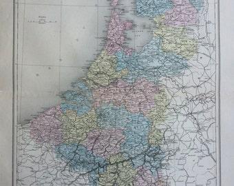 1892 HOLLAND & BELGIUM original antique map, Nouvel Atlas Illustre, French atlas map, Geography, Cartography, Historical Map