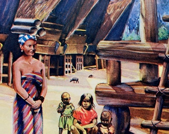 c.1950 Betak Pile Houses, Sumatra, Dutch East Indies Original Vintage Print - Mounted and Matted - Available Framed