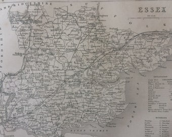 1848 Essex Original Antique Engraved Map - UK County Map - Decorative Art - Cartography - Wall Decor - England