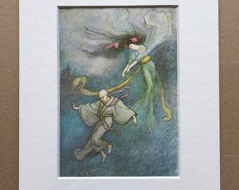 1979 Japanese Fairytale Illustration Original Vintage Print - The Bell of Dojoji - Japan - Mounted and Matted - Available Framed