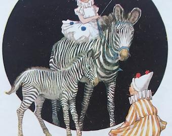 1919 Zebras Original Vintage Margaret W. Tarrant Illustration - Zoo - Animal Art - Available Framed - Nursery Decor - Children's Book