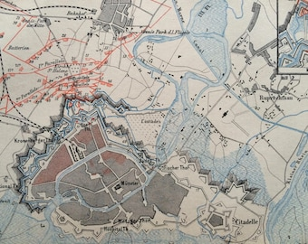 1875 Siege of Strasbourg Small Original Antique Map - Fortress - Fortifications - War - Cartography - Vintage Map - Wall Decor