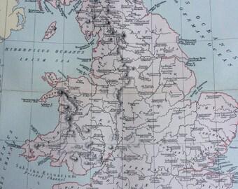 1891 BRITANNIA ANTIQUA Ancient Britain Original Antique Map  - 9 x 12 Inches - Ancient History - Classics - Cartography - Wall Decor