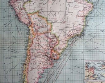 1903 South America: Industries and Communications Large Original Antique Map with inset maps of Rio de Janeiro, Callao, Lima & Valparaiso