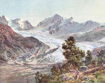 1880 The Roseg Glacier, Switzerland Original Antique Lithograph - Mounted and Matted - Available Framed - Geology - Mountain - Bernina Range