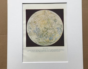 1937 The Moon Original Vintage Print - Astronomy - Mounted and Matted - Available Framed