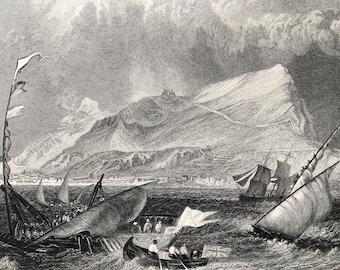 1871 Gibraltar Original Antique Steel Engraving - Landscape - Mounted and Matted - Available Framed
