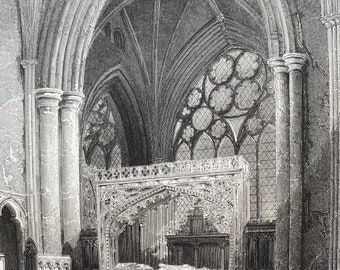 1838 Exeter Cathedral - Bishop Stafford's Monument Original Antique Engraving - Devon - Architecture - Mounted and Matted - Available Framed
