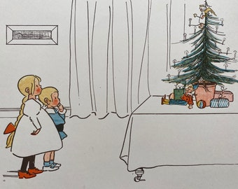 1898 Children of Germany - 'The Christmas Tree' Original Antique Edith Farmiloe Illustration - Nursery Decor - Available Framed