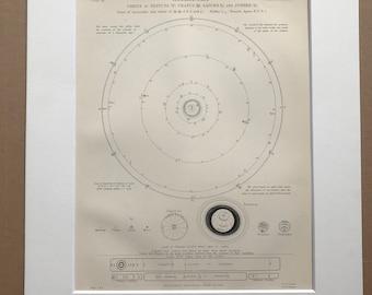 1875 Orbits of Neptune, Uranus, Saturn and Jupiter Original Antique Matted Engraving - Astronomy Diagram - Matted & Available Framed