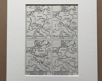 1940s The Holy Roman and German Empires Original Vintage Map - Mounted and Matted - History map - Germany - Available Framed