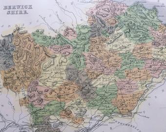 1882 Berwick Shire Original Antique Map - Scottish County, cartography, Scotland, Victorian Decor