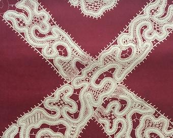 1870 Design Marie Stuart Cap with lappets in Raised Venetian Point Lace Large Original Antique Lithograph - Handwork - Seamstress