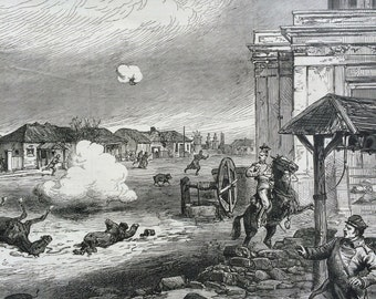 1877 Russo-Turkish War: Reni during the bombardment, antique print from engraving, Illustrated London News Cover, 19th Century History