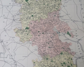 1868 Buckinghamshire Large Original Antique Map showing railways, roads & parliamentary divisions - UK County - Wall Map