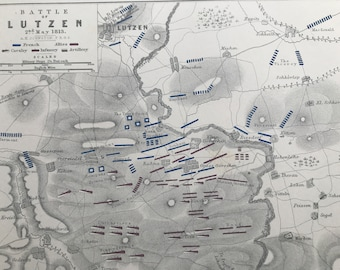 1875 Battle of Lutzen, 1813 Original Antique Map - Napoleonic Wars - Battle Map - Military History - Available Framed