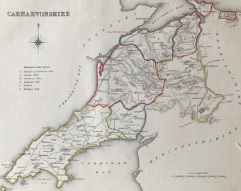 1845 Carnavonshire Original Antique Hand-Coloured Engraved Map - UK County Map - Available Framed - Wales
