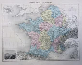 1892 ROMAN FRANCE original antique map, Nouvel Atlas Illustre, French atlas map, Geography, Cartography, Historical Map