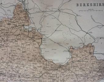 1868 Berkshire original antique map, english county, cartography, geography, wall decor, gift idea, victorian Decor, 13 x 10.5 Inches