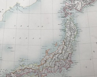 1898 Japan Large Original Antique A & C Black Map with reference of Divisions and Provinces and inset map of Tokyo - Victorian Wall Decor