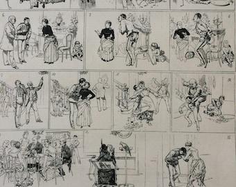 1883 Original Antique Engraving - An English Christmas in Paris - Caricature - Cartoon - Humour - Festive - Victorian Decor