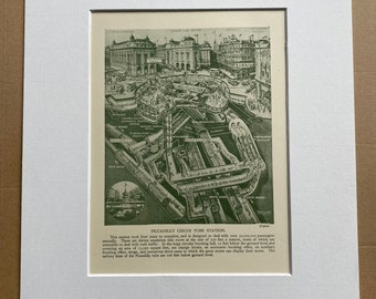 1953 Piccadilly Circus Tube Station Original Vintage Print - Railway - Train - Mounted and Matted - Available Framed