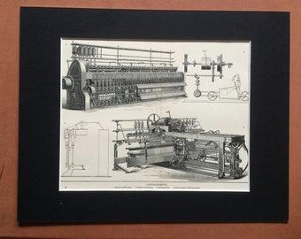 1900 Cotton-Spinning Original Antique Print - 11 x 14 inches - Diagram - Technology - Bobbin - Fly Frame - Wall Decor - Home Decor