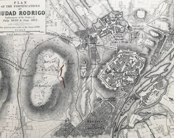 1875 Fortifications of Ciudad Rodrigo, 1812 Original Antique Map - Napoleonic Wars - Battle Map - Military History - Available Framed