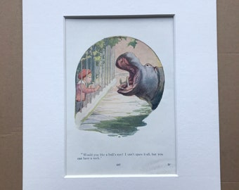 1919 Hippo Original Vintage Margaret W. Tarrant Illustration - Zoo - Animal Art - Available Framed - Nursery Decor - Children's Book