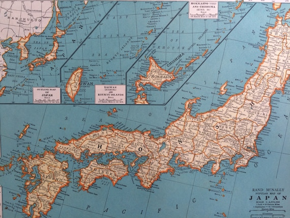 1937 JAPAN Original Vintage Map 11 x 14 inches Rand McNally