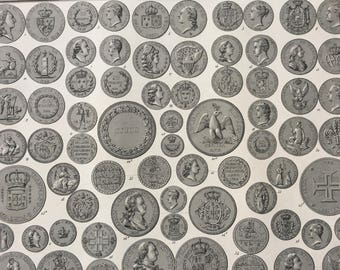 1849 Coin Numismatics Large Original Antique Print - Mounted and Matted - Numismatology - Available Framed