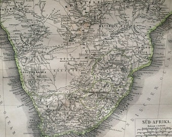1876 Southern Africa Large Original Antique Map - Available Mounted and Matted - Wall map - Vintage Wall Decor