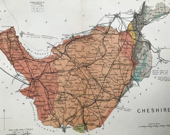 1913 Cheshire Original Antique Small Geological Map - Devon - UK County Map - Geology - Available Framed