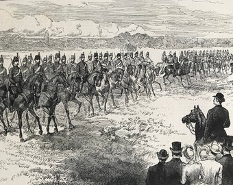 1883 Inspection of the Middlesex Yeomanry Cavalry in Bushey Park Original Antique Print - Military - Mounted and Matted - Available Framed