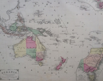 1869 OCEANIA Rare Original Antique Map, 11 x 13.5 inches, historical wall decor, Cornell Atlas, Home Decor, Cartography, Geography