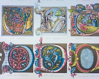 1904 Original Antique Print - Illuminating Capitals, Chronologically Arranged - French - Italian - German - Fine Art - Wall Decor