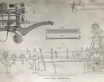 1858 Weaving - Dressing Machine Longitudinal View and Side Elevation Original Antique Engraving - Victorian Technology - Available Framed