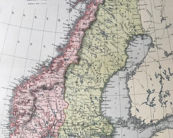 1904 Sweden & Norway Original Antique Map - Available Mounted and Matted - Scandinavia - Vintage Wall Decor