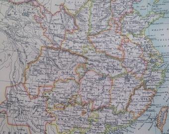 1875 China Original Antique Map - Cartography - Antique Wall Decor - Decorative Art - Chinese History