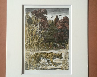 1965 The Bird Talisman Original Vintage Wood Engraving Illustration - Tiger - Mounted and Matted - Available Framed