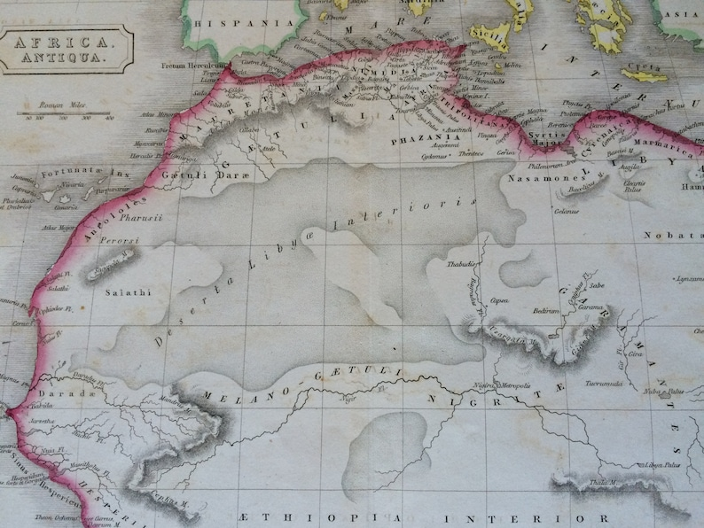 Ancient History DATED Wall Decor Original Antique Hand-Coloured Engraved Map Africa Antiqua Framed 1829 Africa Classics