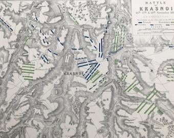 1875 Battle of Krasnoi, 1812 Original Antique Map - Napoleonic Wars - Battle Map - Military History - Available Framed