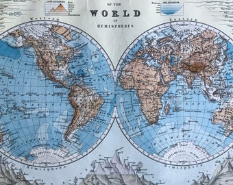 1901 Bathy-Orographical Map of the World in Hemispheres Original Antique Map - Mounted and Matted - Available Framed