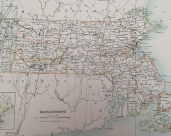 1898 Massachusetts Large Original Antique A & C Black Map - United States - Victorian Wall Decor - Wedding Gift Idea