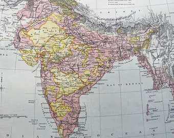 1875 India Original Antique Map showing British Territories, dependent and subordinate Native states and Independent States