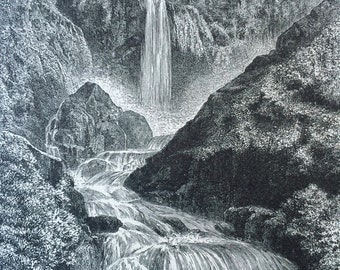 1895 Cascades of Terni Original Antique Engraving - Mounted and Matted - Waterfall - Italy - Available Framed
