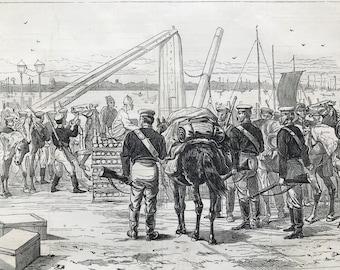 1877 The Civil War in Japan: Embarking Cavalry at the Custom-House, Yokohama Original Antique Print - Available Framed, Historical