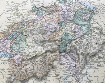 1891 Switzerland Original Antique Map - Available Mounted and Matted -  Gift Idea - Vintage Map