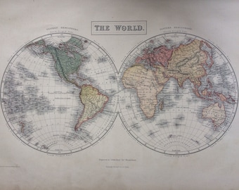 1859 WORLD in HEMISPHERES large rare original antique A & C Black Map - Wall Decor - Home Decor - Geography - Cartography - Gift Idea