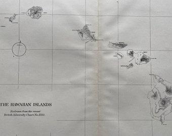 1883 The Hawaiian Islands Original Antique Map redrawn from the recent British Admiralty Chart - Hawaii Map